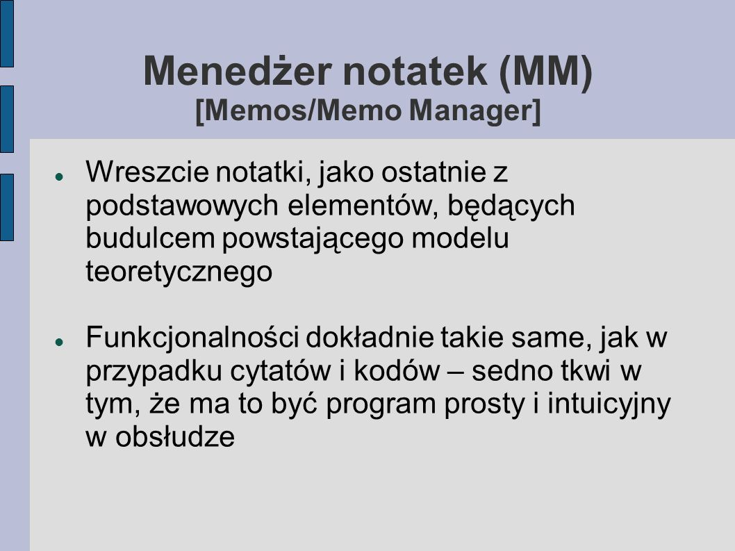 Menedżer notatek (MM) [Memos/Memo Manager]